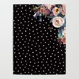 Boho Flowers and Polka Dots on Black Poster