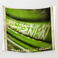 sticker Wall Tapestries featuring Grunge sticker of Kingdom of Saudi Arabia flag by Lulla