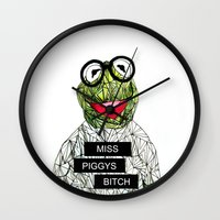 kermit Wall Clocks featuring Kermit The Frog by Doodalily Illustrations