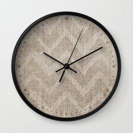 Chevron burlap (Hessian series 1 of 3) Wall Clock