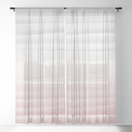 Touching Blush Gray Watercolor Abstract Stripe #1 #painting #decor #art #society6 Sheer Curtain