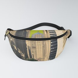 Downtown Chicago photography digitally reimagined - modern Chicago skyline in pop art Fanny Pack