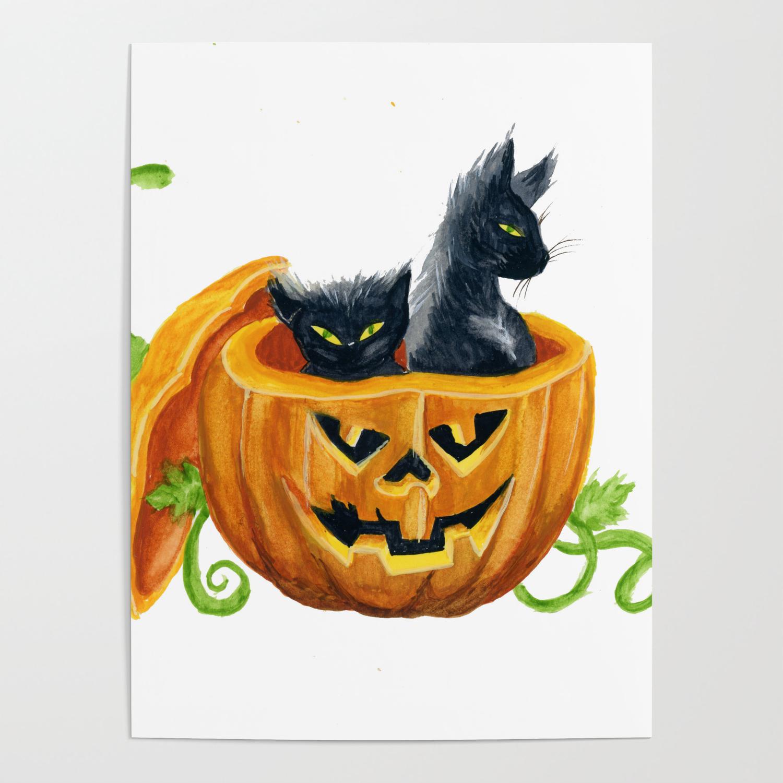 Halloween Cats Pumpkin Jack O Lantern Poster By Drawinginspiration Society6
