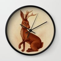jackalope Wall Clocks featuring Jackalope by Sarah DC
