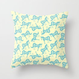 The Essence of a Horse Pattern (Cream and Blue) Throw Pillow