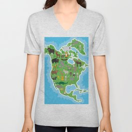 Map of North America with Animals bison bat manatee fox elk horse wolf partridge seal Polar bear Unisex V-Neck