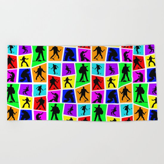The King Color Tile Silhouette Beach Towel