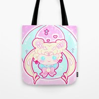 sailormoon Tote Bags featuring Marshmallow Sailormoon by Candy Castle