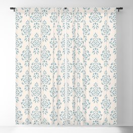 Crest Damask Repeat Pattern Blue on Cream Blackout Curtain