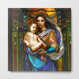 Mother Mary With Jesus Metal Print