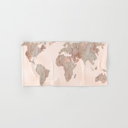 Rosegold Marble Map of the World Hand & Bath Towel