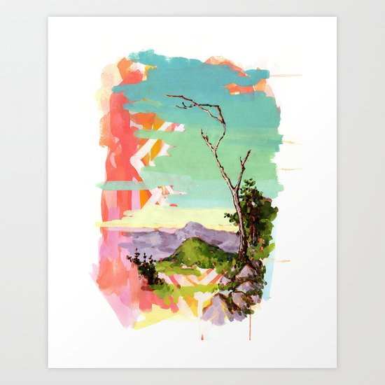 Psychedelic Landscape with Tree Art Print