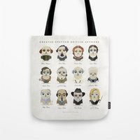 roald dahl Tote Bags featuring Greater-Spotted British Authors by Scott Tyrrell