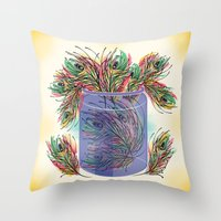 feathers Throw Pillows featuring Feathers by famenxt