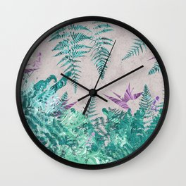 Ferns and Parrot Flowers Wall Clock