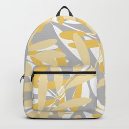 Floral, Leaves Print, Gray, Yellow, White, Art for Walls Backpack