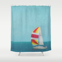 sailboat Shower Curtains featuring Bright Sailboat by Pure Nature Photos