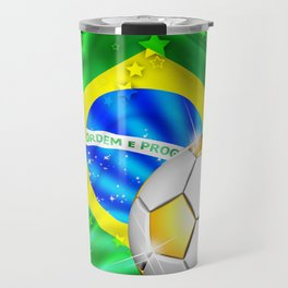 Brazil Flag Gold Green and Soccer Ball Travel Mug