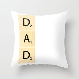DAD - Vertical Scrabble Tile Art and Accessories for Father's Day Throw Pillow