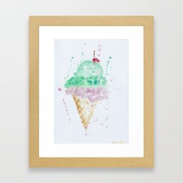Icecream Summer love Cherry illustration ice cream cone watercolor Framed Art Print