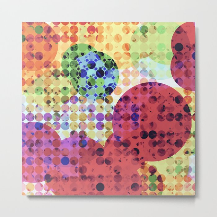 geometric circle pattern abstract background in red pink yellow orange green Metal Print