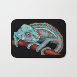Panther Chameleon Turquoise Blue & Coral Red Bath Mat