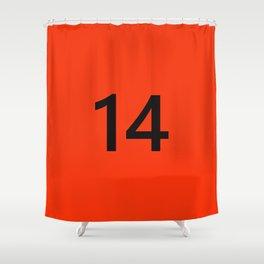 Legendary No. 14 in orange and black Shower Curtain
