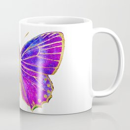 Elegant Gold-Glitter Butterfly in Blue and Purple Coffee Mug