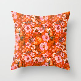 Spring flowers pattern in red background  Throw Pillow