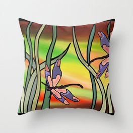 Dragonflies in the Grass Throw Pillow