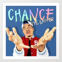 chance the rapper Art Prints featuring Chance The Rapper by MikeHanz