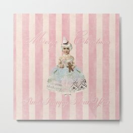 Vintage Nostalgic Christmas Fairy In Soft Pink Pastels Metal Print