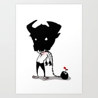 bull Art Prints featuring bull by Negative Dragon