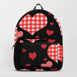 Red Gingham Hearts Backpack