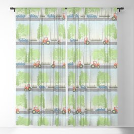 Cars and trees pattern Sheer Curtain