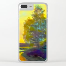 Lonely birch in autumn rural road Clear iPhone Case