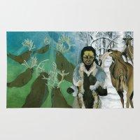 mythology Area & Throw Rugs featuring Inuit Mythology: Chapter 1, part 7 by Estúdio Marte
