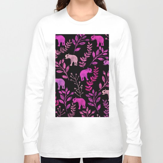 Watercolor Flowers & Elephants III Long Sleeve T-shirt