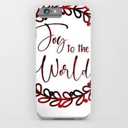Joy to the World Christmas Plaid iPhone Case