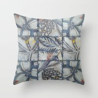 college Throw Pillows featuring COLLEGE PATTERN by AlanaHayley