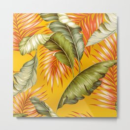 HAWAIIAN GARDEN TROPICAL LEAVES | golden yellow orange Metal Print