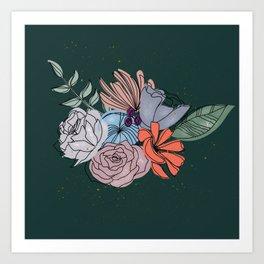 Dirty Blush Flower Bouquet Art Print