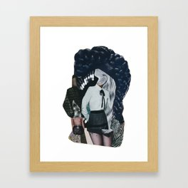 She was all mixed up - a modern, black and white collage by jules tillman Framed Art Print