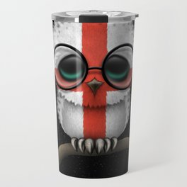 Baby Owl with Glasses and English Flag Travel Mug