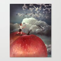 roald dahl Canvas Prints featuring Climbing towards the heavens - From James and the Giant Peach - By Roland Dahl by Karen Watson