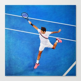 Flying Federer Tennis Backhand Canvas Print