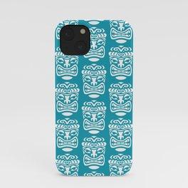 Tiki Pattern Turquoise iPhone Case