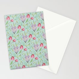Modern pink lilac red watercolor girly magnolia floral Stationery Cards
