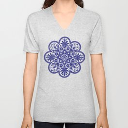 Floral Doily Pattern | Blue and White Unisex V-Neck
