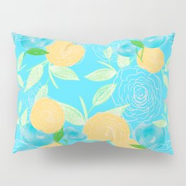 06 Yellow Blooms on Blue Pillow Sham